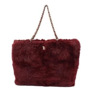 Chanel Bordeaux Lapin Rabbit Fur CC Chain Tote